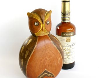 Vintage Owl Liquor Decanter Genuine Leather Covering Rhinestone Eyes Made in Italy Bar Decor Gift for Him