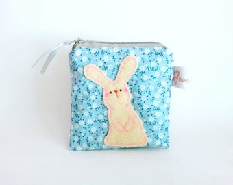 Cute Bunny Pouch, Pink Flower, Pouch, Change Purse, Coin Purse, Coin Wallet, Cute Rabbit, Zipper Pouch, Girls - Bunny Rabbit Gifts