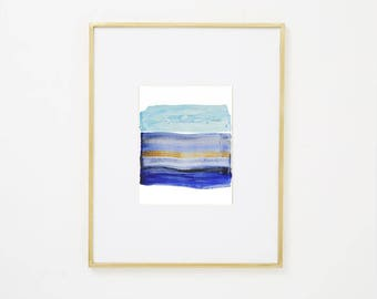 "Abstract Ocean Original Watercolor Painting, blue, brown yellow, 8 x 10"" expressionist art ""Painting 983"" modern minimal colorful art"
