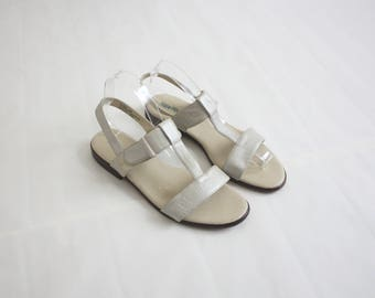 pearlescent leather sandals size 9
