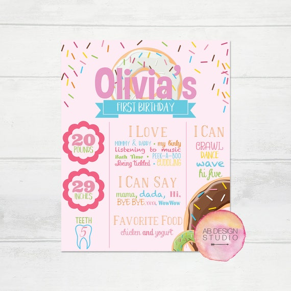 Birthday Sign Ups: Donut Grow Up Themed Sign For Baby