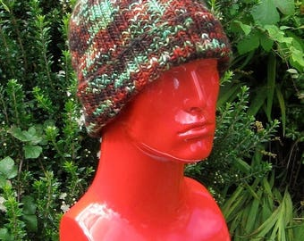 40% OFF SALE Instant digital file pdf download knitting pattern - chunky self striping all rib beanie knitting pattern