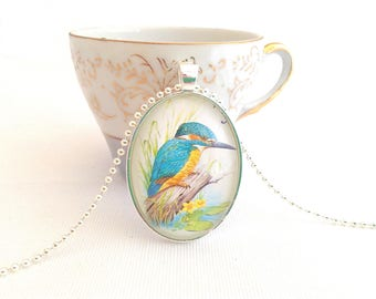 kingfisher bird necklace, vintage stamp pendant, postage stamp necklace, Hungary 1990