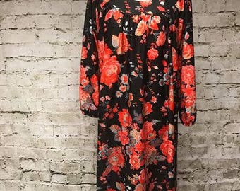black and red roses flower power house dress