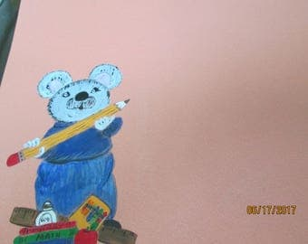 12x12  handpainted scrapbook page with a teacher mouse,great for first day of school or favorite teacher.