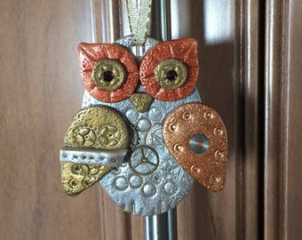 Steampunk Owl Holiday Ornament - Industrial Style Bird Animal Mixed Media Decor style 1