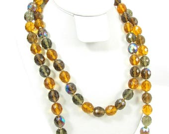 Vintage JOAN RIVERS Amber & Grey Faceted Crystal Bead Necklace Aurora Borealis