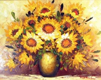 Vintage SUNFLOWERS Oil Painting Signed ROBIN Gilded Wood Frame Sunflower Floral