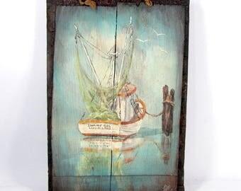 Vintage LAND O'LAKES Folk Art Painting SWAMP Gal Boat Rustic Wood Florida Nautical