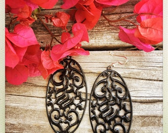 Black Fretwork Earrings