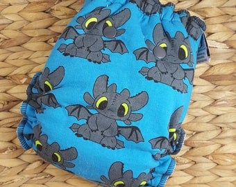 TL Dragon; blue - One Size (11-35#) Bamboo/obv Fitted Cloth Diaper  (toothless, fleece, velour, organic, OS, trim, PNPBaby, PNP, Primm)