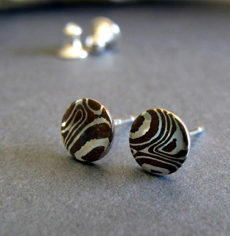 Mokume Gane Earrings: Mokumé Gane Minimalist Stud Earrings. Artisan Jewelry
