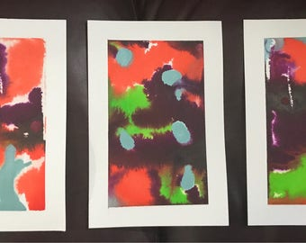 Infection- Ink Drop Triptych