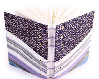 Purple and Gold Inlay Journal 2 of 2 -  Handmade book by Ruth Bleakley with Chiyogami and Marbled Covers