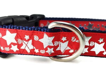Dog Collar, Red Stars,  adjustable, 1 inch, small, 11-14 inches, heavy nylon, quick release buckle