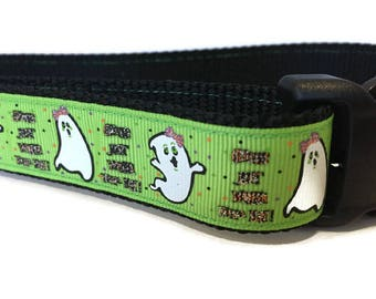 Halloween Dog Collar, Too Cute To Spook,  1 inch wide, adjustable 18-26 inches, quick release