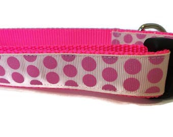 Dog Collar, Hot Pink Dots,  1 inch wide, adjustable 18-26 inches, quick release
