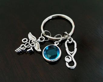 OT Occupational Therapist Gift Personalized Crystal Birthstone Stethoscope Key Ring Key Chain