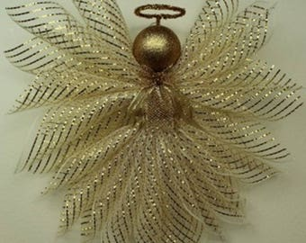 Ivory and Gold Deco Mesh Angel-LARGE