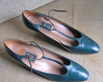 Dark Green Leather T-Strap Heels