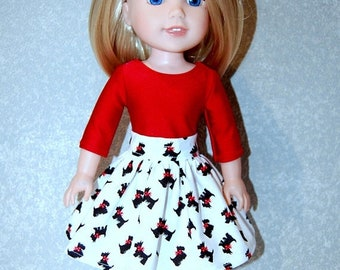 Spring Sale Skirt Shirt for 14 inch Wellie Wishers Christmas Scottie Dog Red - Doll Clothes  tkct1196 READY TO SHIP