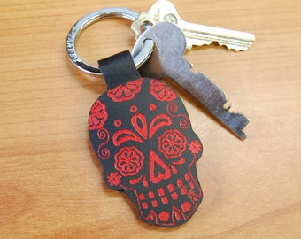Black and Red Leather Sugar Skull Key Ring
