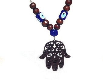 Evil eye hamsa hand rearview mirror car hanger - Protection & Good Luck -  Car/home gift - Car accessories - Greece - Lucky eye - protection