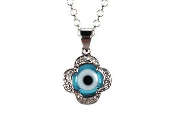 Evil eye cross necklace - zirconia - 925 sterling silver - protection - Greek jewelry
