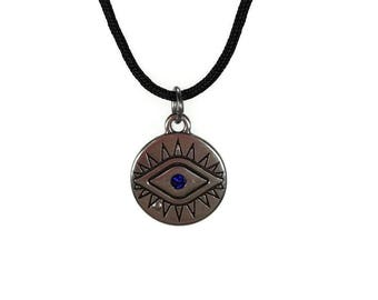 Evil eye necklace - black cord  - Greek jewelry - protection - Good luck