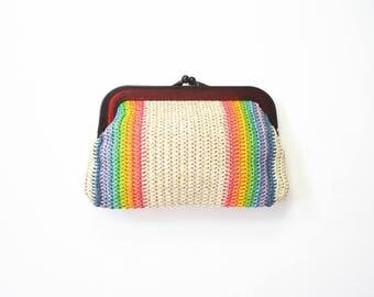 Woven Rainbow Clutch 60s Raffia Purse 1960s Mod MCM Plastic Bag Colorful Striped Boho Colors 70s Summer 1970s Hippie Handbag
