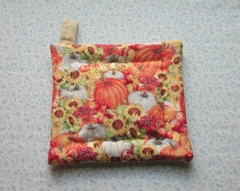 fall harvest pumpkins hand quilted insulated potholder with loop to hang