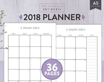 2018 Planner Printable | 2018 Agenda | 2018 Monthly Planner | Filofax A5 Planner Pages | 2018 Calendar | Yearly Planner