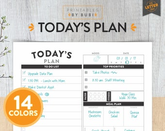 Daily Planner, Daily Planner Insert, Printable Planner, Planner, Today's Plan, Day Planner, Planner Pages, Daily Organizer, Daily Agenda
