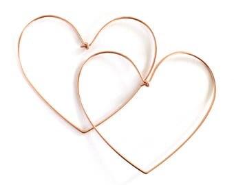 Rose Gold Heart Hoop Earrings. X- Large Heart Hand Hammered Hoops with Closure. Valentines Day Hoop Earrings