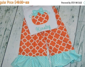 ON SALE Pretty Pumpkin Outfit Personalized Shirt and Ruffle Pant Set monogram