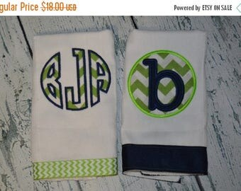 ON SALE Personalized Burp cloth Set of 2  Burpies  Monogrammed