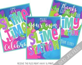 Slime Printable Signs   Slime Station Sign   Slime Birthday   Slime Printables   Slime Party Ideas   Slime Birthday Party