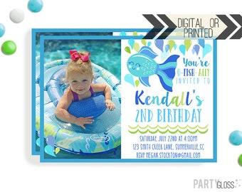 Fish Birthday Invitation | Digital or Printed | Blue Fish Photo Invitation | Girly Fish Theme | Fishing Invite | Fish Birthday Printable