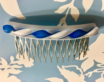 Fused Glass Hair Comb, Handmade, Blue and White Swirl Glass, Silver Metal Comb, Latticino, Hair Accessory, Bling