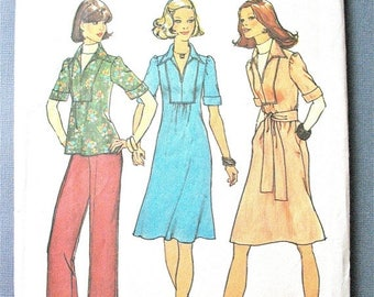 ON SALE Simplicity 7049 ©1975  Misses' One-Piece Dress or Top and Pants Vintage Sewing Pattern Bust 34