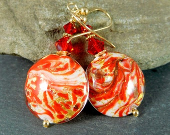 Red White Gold Murano Glass Dangle Earrings, Christmas Earrings, Holiday Jewelry, Venetian Glass Gold Filled Dangle Earrings,  Peppermint
