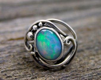 Ethiopian Fire Opal Elvin Flow ring, opal ring, fire opal, welo opal, organic ring, rare gemstone, opal engagement, opal wedding, boho ring