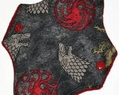 Liner Hemp Core- Gray Sigils Reusable Cloth Mini Pad- WindPro Fleece- 7.5 Inches (19 cm)