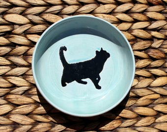 Ceramic CAT Bowl - Food and Water Bowl - Handmade Robin's Egg Blue Stoneware Bowl with Cat Silhouette - Ready To Ship