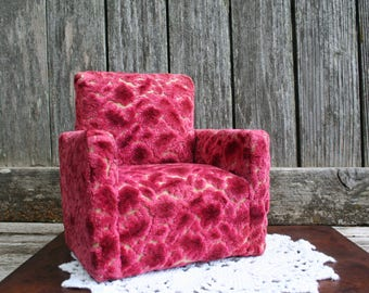 Vintage Doll Furniture / Over-sized Red and Pink Upholstered Club Chair