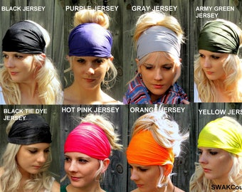 Wide Headband Wide head Wrap Yoga Headband Choose Any Two - COTTON JERSEY Women Head Wraps Twist Running Headband Gifts for her