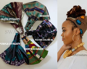 Satin Lined Wide Headband Wrap Pineapple Bun Wrap Ankara African Print Wrap Turban - Djenaba or Choose Print