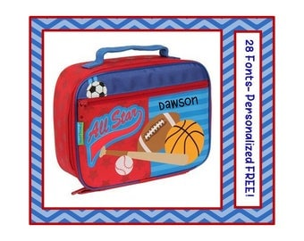 New Fonts- Personalized SPORTS New Boy's or Girl's Lunch Box- Blue, Red Monogrammed