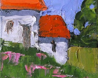 Miniature Impressionist Painting 4x4 Plein Air Farm Cottage  Landscape Wild Garden Lynne French
