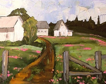 Plein Air Impressionist Landscape Painting FARM BARNS 16x20 Landscape Art Lynne French